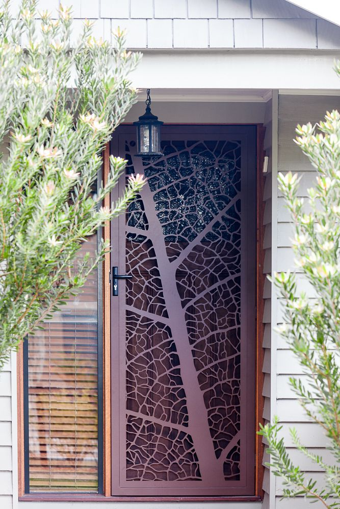 Leaf Vein security screen door by Entanglements metal art. Steel construction. Create a focal point at the entry to your home!