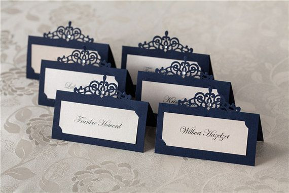 Navy Laser Cut Place Card with Self-Adhensive Gemstone Size: W90mm*H50mm, set o…