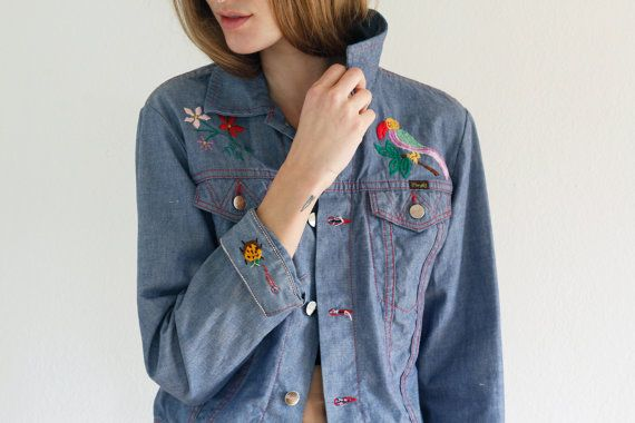70s EMBROIDERED Jean Jacket / WRANGLER Jean JACKET / by shopfuture