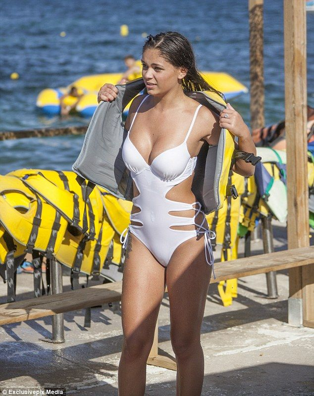 Beauty: Love Island starEmma-Jane Woodham wowed in a racy white swimsuit during a recent trip to Marbella with her girlfriends