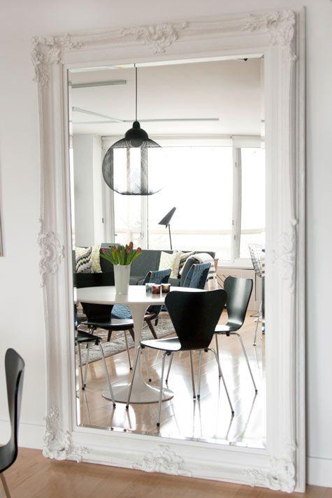wall mirror/heavy frameDining Room, Wall Mirrors, Living Room, Vintage Frames, Master Bedrooms, Floors Mirrors, Pictures Frames, White Wall, Mirrors Mirrors
