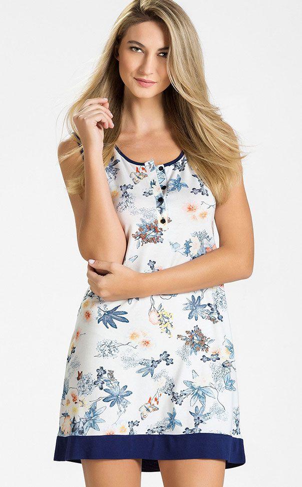 EMILIA - Dias azuis! Saia à procura do sol! O bom clima chega com nossa coleção de Modal floral exclusivo. Modal com Lycra estampa floral exclusiva combinada com cor Navy.