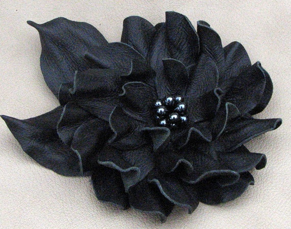 Black flower pin leather brooch with freshwater pearl center 3 year anniversary…