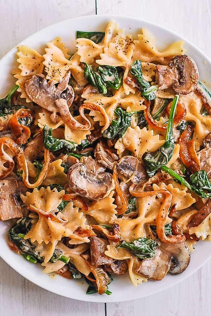 tägliche Rezepte: Farfalle Pasta mit Spinat, Pilzen und Karamell …