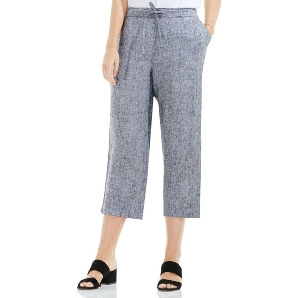 Women's Two By Vince Camuto Wide Leg Crop Linen Pants ($79) ❤ liked on Polyvore featuring pants, capris, rich black, cropped trousers, linen trousers, wide-leg pants, linen crop pants and two by vince camuto