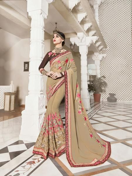 Vogue and pattern will be on the peak of your magnificence as soon as you attire this Beige Georgette Saree. The embroidered work at the clothing adds a sign of attractiveness statement with your look.
