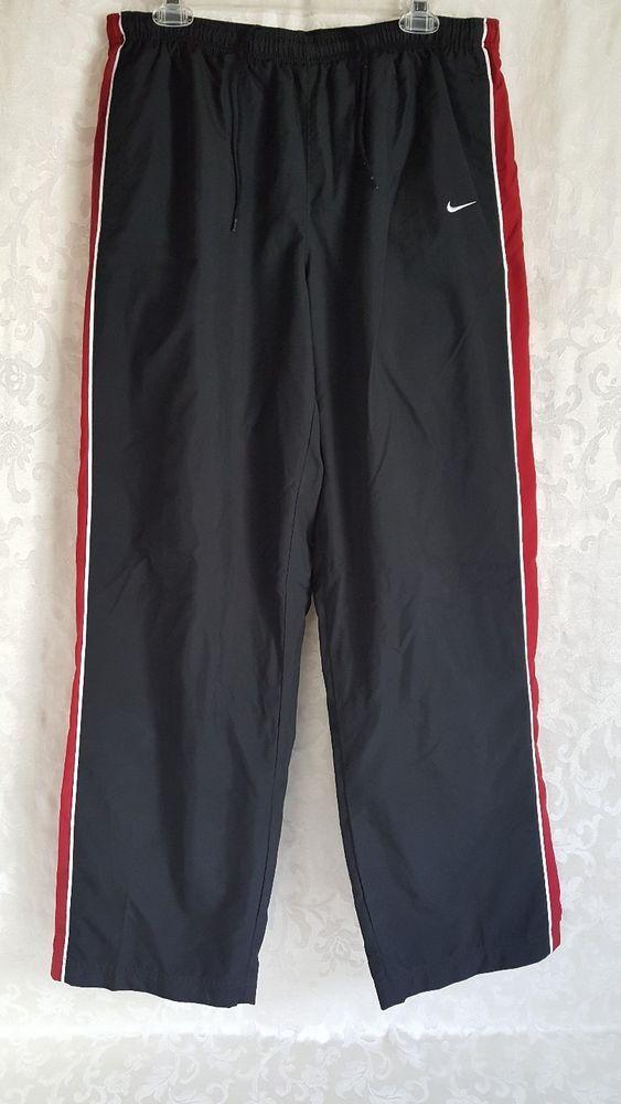Nike Mens Workout Gym Pants Size XL Black Red White Ankle Zippers 1 Back Pocket #Nike #Pants