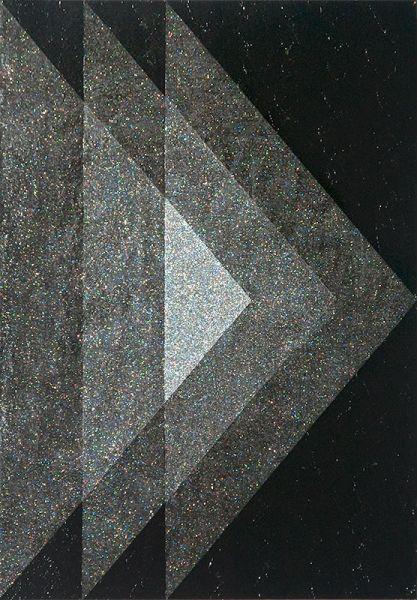 Nicole Van Beek  Right, 2011. 14x11in. Acrylic and glitter on panel.