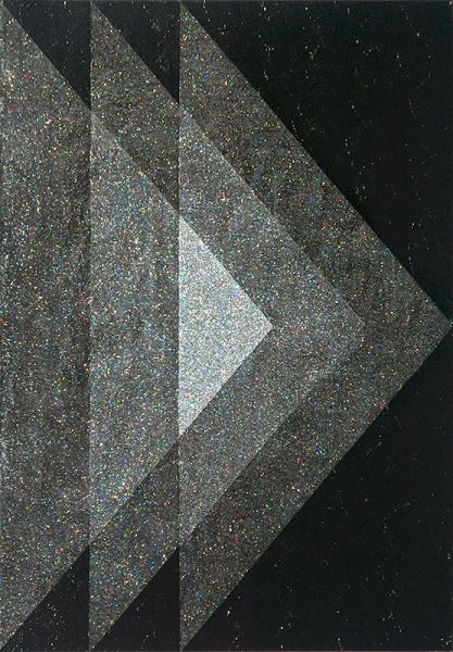Nicole Van Beek  Right, 2011. 14x11in. Acrylic and glitter on panel.