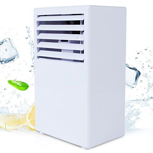 Personal Space Cooler,Vshow Personal Air Conditioner Portable Evaporative Cooler with Fan & Humidifier,Bladeless Misting Desk Table Electric Fan Quiet for Office, Dorm, Nightstand - White - People often can't agree on the temperature of a regular wall AC and they have to share it with the whole office. Regular central AC system is uselessly cooling the entire building, wasting your money while you are sitting in one place.Now you can have your personal cooling device,save your money...