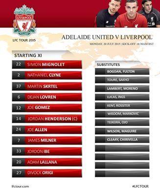 #LFC team to face Adelaide United FC: Mignolet; Clyne, Skrtel, Lovren, Gomez; Henderson, Milner, Allen; Ibe, Origi, Lallana.