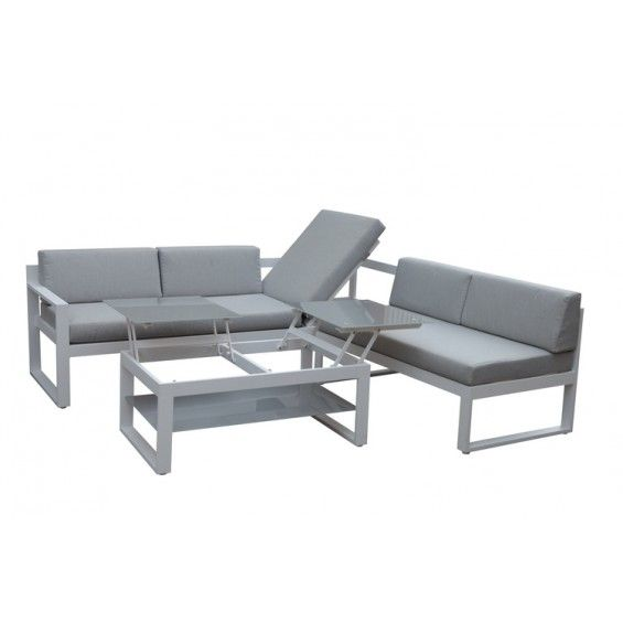 loungeset met ligbed wit aluminium van 599 03 voor 549 00 tuin pinterest tafelblad. Black Bedroom Furniture Sets. Home Design Ideas