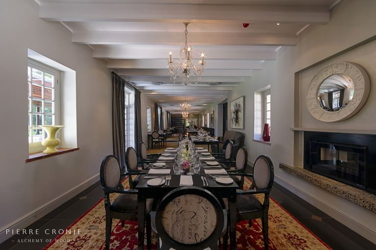 The Camphors restaurant at Vergelegen in Somerset West, South Africa. Interior design by Christiaan Barnard, solid wood furnishings and shopfitting by Pierre Cronje