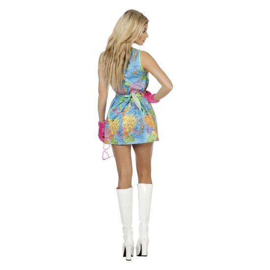 Travel girl jurkje. Een leuk jurkje met de print van de wereld. Deze globetrotter outfit bestaat uit het jurkje en de riem.