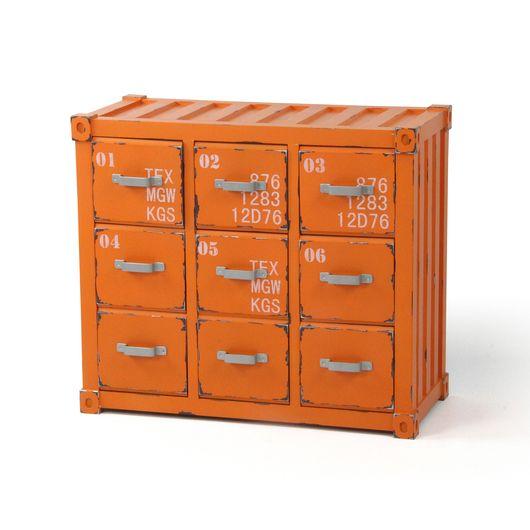 Cajonera fabricada en DM (aglomerado elaborado con fibras de madera) y lacada en azul o naranja. Ideal para guardar varias cosas, el mueble es orig...