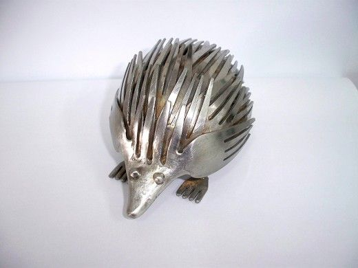 An adorable hedgehog made from #upcycled fork parts