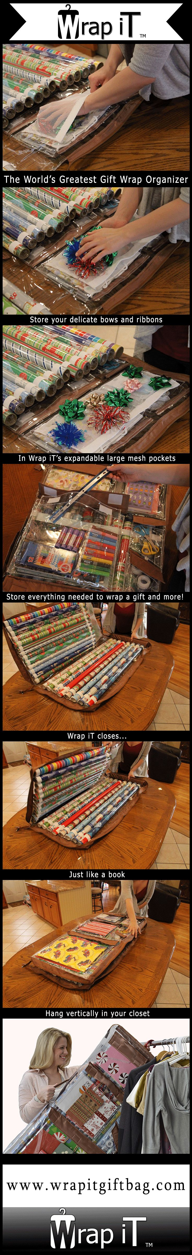 Wrap iT - The World's Greatest Gift Wrap Organizer #giftwrapstorage #wrapit -What a great space saving way to keep all of your gift wrapping supplies conveniently organized and stored!