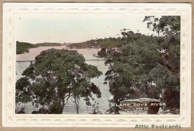 Vintage postcard of Lane Cove River in New South Wales, Australia. Embossed border.