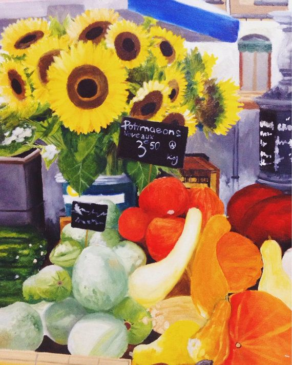 Sunflowers and vegetables stall at Market Aix en by plartstudio , $73.00