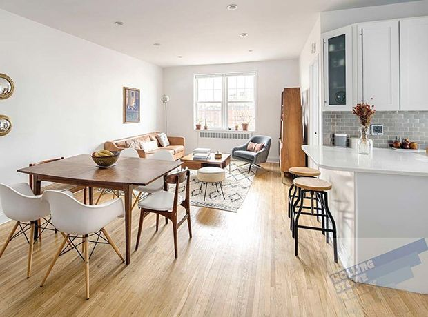 Ideal for dinner parties, there's enough room for a six-person dining table in this Brooklyn condo.