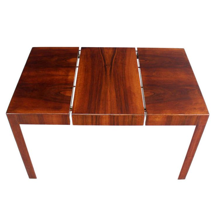 Oiled Walnut Italian Mid-Century Modern Game or Dining Table with One Leaf | See more antique and modern Game Tables at https://www.1stdibs.com/furniture/tables/game-tables