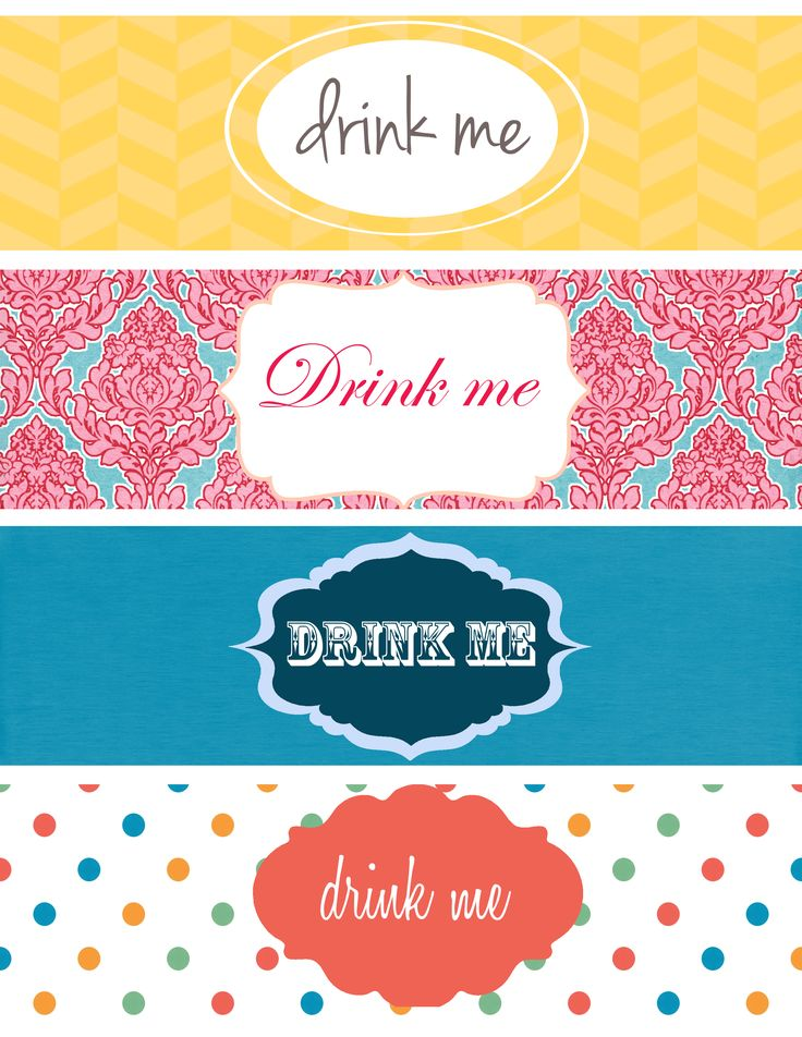 Hello Hello! Today I did four different kind of Printable Bottle Labels, you can print these on a 8.5″ x 11″ page, cut them and stick to a water bottle or to a soda bottle etc. Hoy hice…