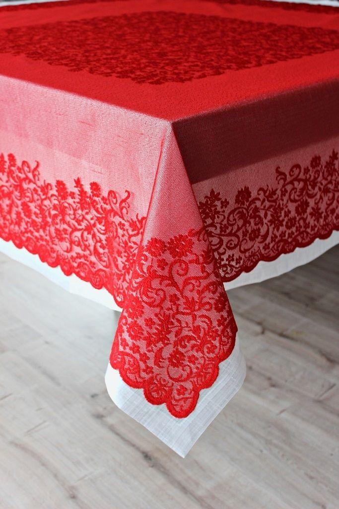 Beyaz İpek Tafta Ve Kırmızı Krinkıl Dantel Masa Örtü Seti