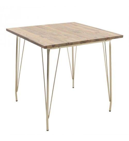 METAL_WOODEN TABLE IN GOLDEN COLOR 80X80X76