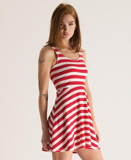 SUPERDRY Womens Rydell Dress Ribbon Red Cream Stripe   eBay