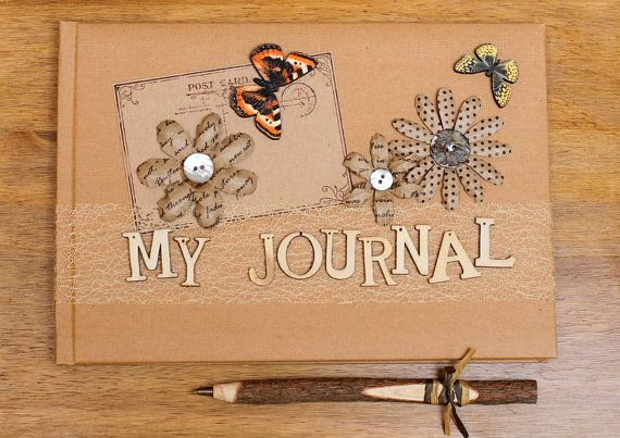 Handmade Rustic My Journal book and twig pen by Aphroditebridal