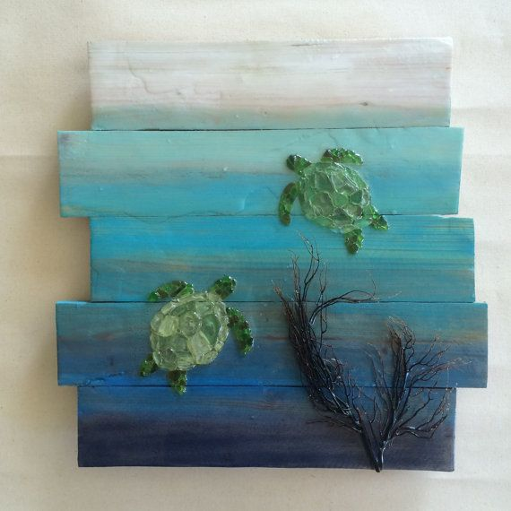 Sea glass art Sea turtle hawaiian honu tortuga tortoise by SignsOf