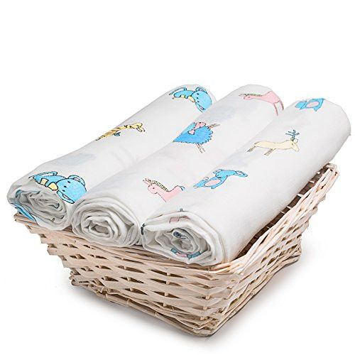 Extra Soft Muslin Swaddle Blankets 3-Pack, 100% Organic Cotton Muslin Fabric - Versatile Receiving Blankets for Babies 47 X 47 inch 12 Animals, Discrete Breastfeeding Cover