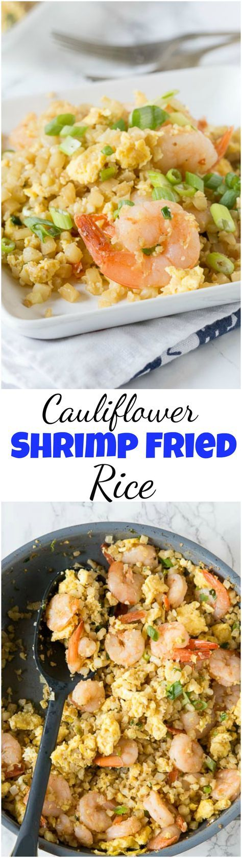 Cauliflower Shrimp Fried Rice – A healthy version of a Chinese take-out favorite! Ready in minutes and you don't have to feel any guilt about fried rice again! #healthy #lowcarb #cauliflowerrice #betterthantakeout #shrimp