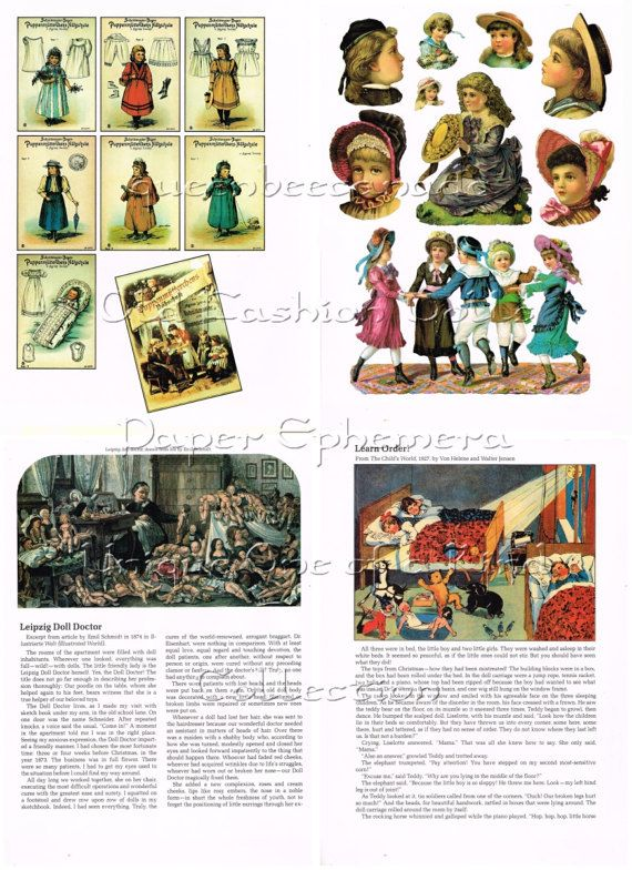 Old Fashioned Doll Pictures Cards Poetry by queenbeecanada on Etsy