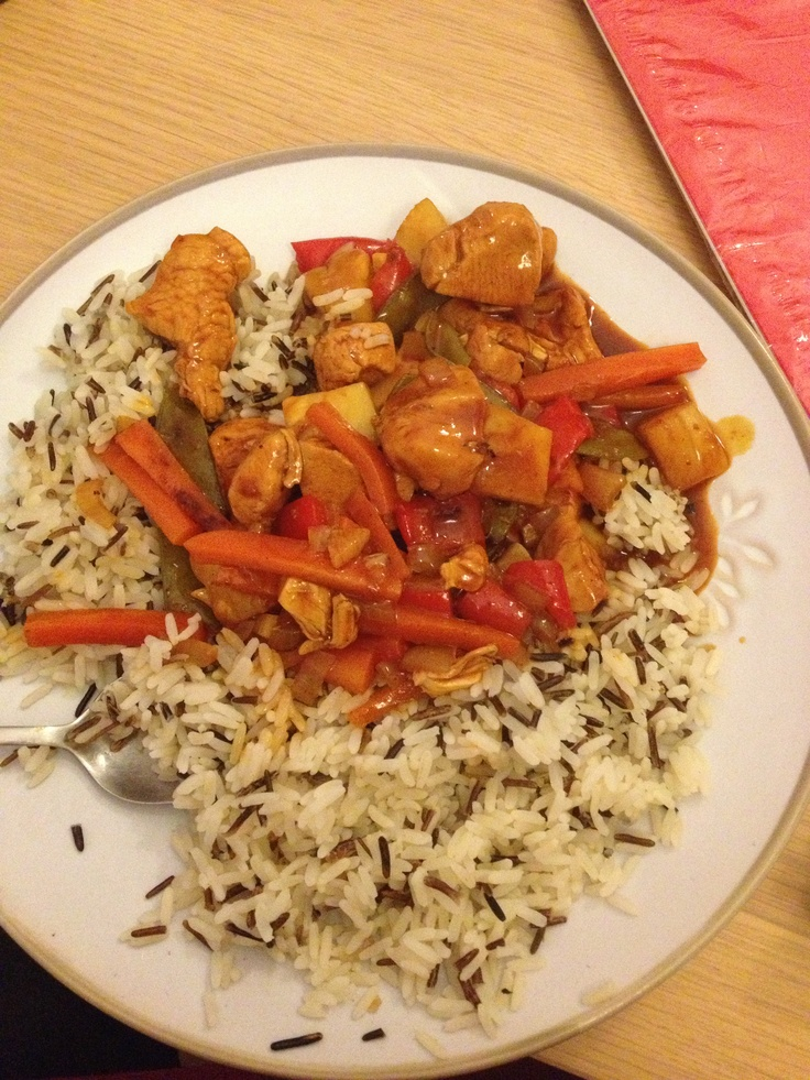 Slimming world Sweet & sour chicken with wild rice . Syn free as pineapple mixed in at the end so not cooked