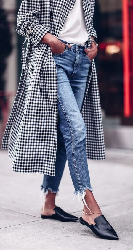 gingham trench coat. denim. pointed mules. fall street style.