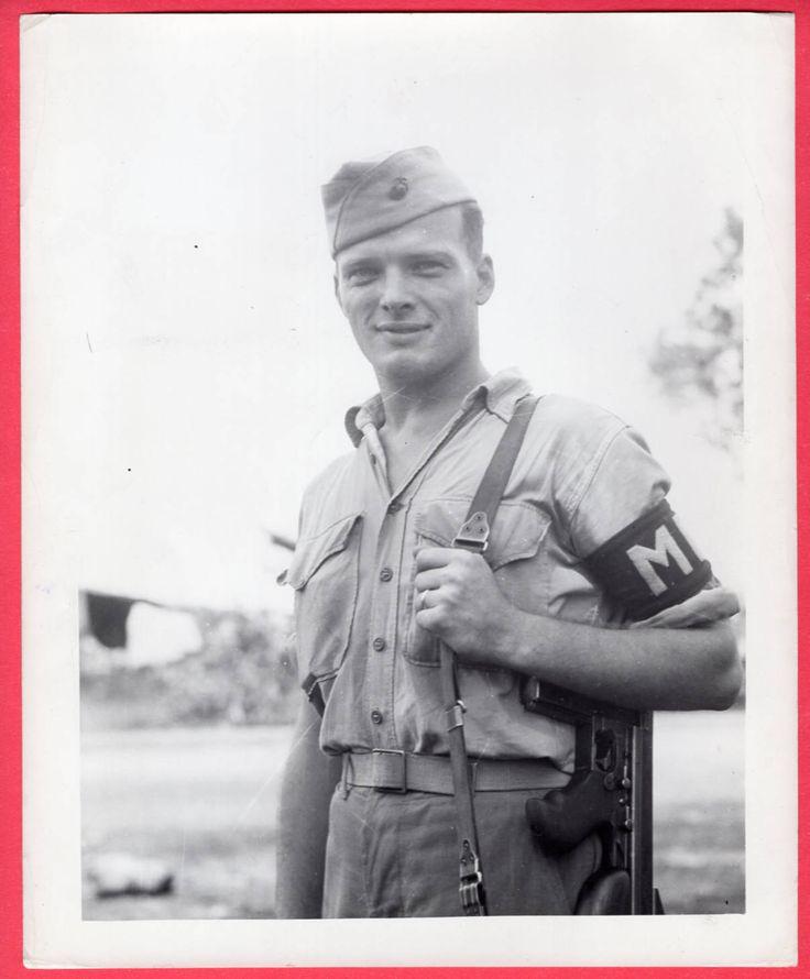 1944 USMC Marine MP Sgt. Count of Yorktown VA Thompson Submachine Gun News Photo - $19.99   PicClick