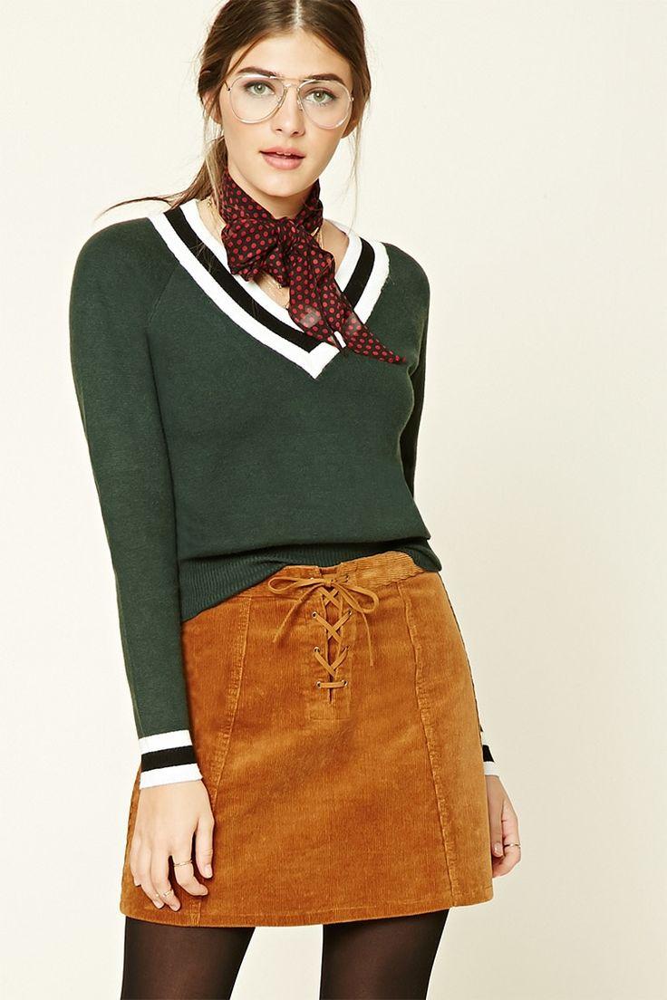 V-Neck Varsity Sweater Top