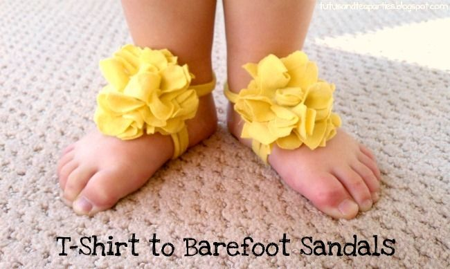 barefoot baby sandals using t-shirt!: Little Girls, Tees Shirts, Barefoot Sandals, Baby Sandals, Tea Parties, Baby Girls, T Shirts, Baby Shoes, Teas Parties