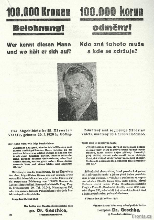 Reward poster for Josef Valčík, one of the assassins of Reinhard Heydrich.