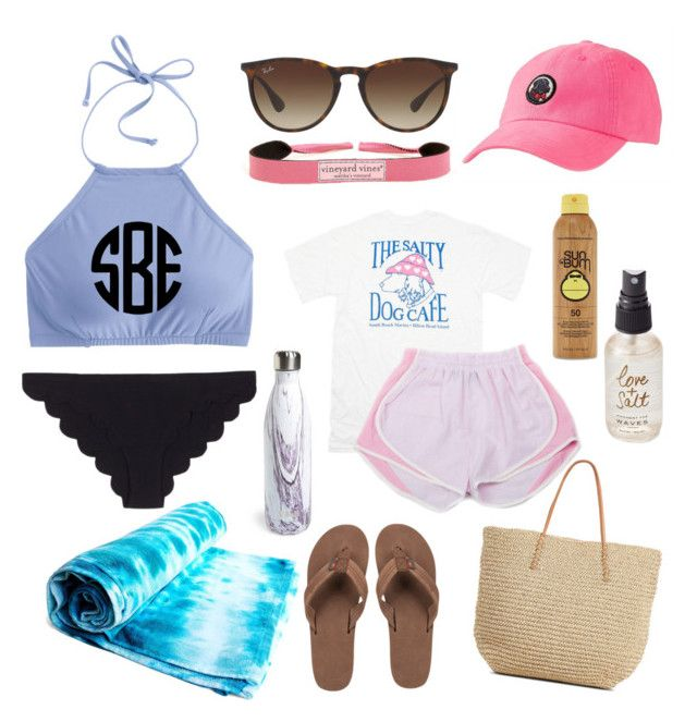 """Let's Get our Tans on!"" by sheyannereed ❤ liked on Polyvore featuring S'well, Ray-Ban, Vineyard Vines, Marysia Swim, Rainbow, J.Crew, Forever 21, Olivine and Target"