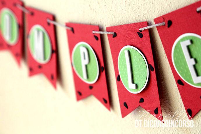 """Giugno mese di festeggiamenti a casa nostra, la piccola di casa compie gli anni e per la festa abbiamo scelta il tema anguria! Un valido aiuto è stato il nuovo prodotto """"Banner punch board&#8…"""