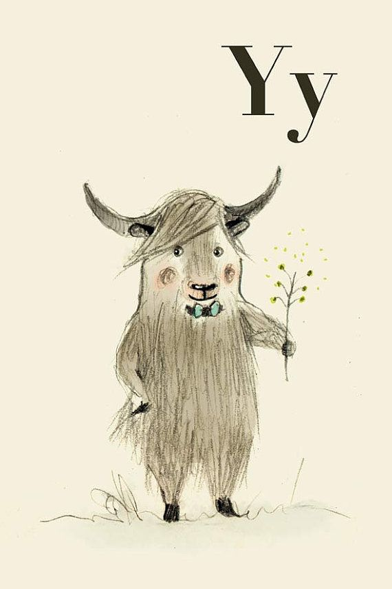 Y for Yak  Alphabet animal  Print 6x8 inches by holli on Etsy, $10.00