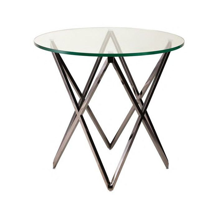 Lattice Clear Glass Side Table