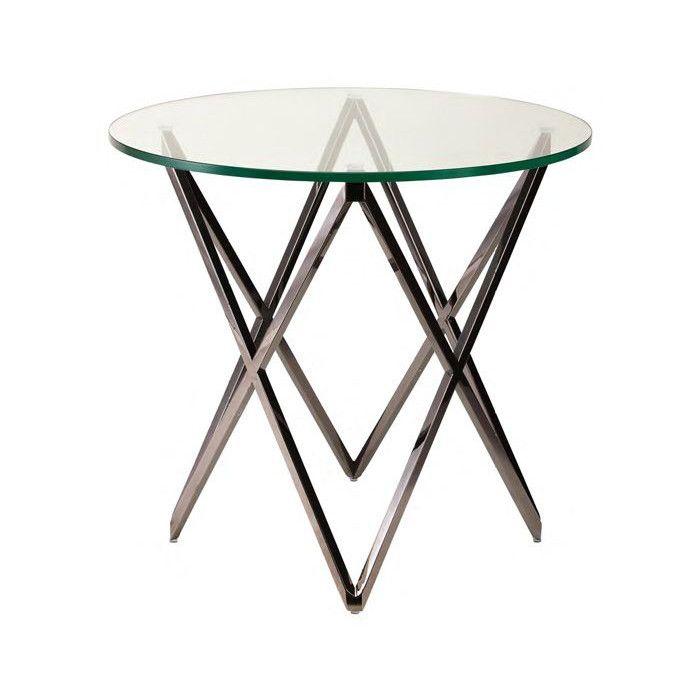 Lattice Clear Glass Side Table