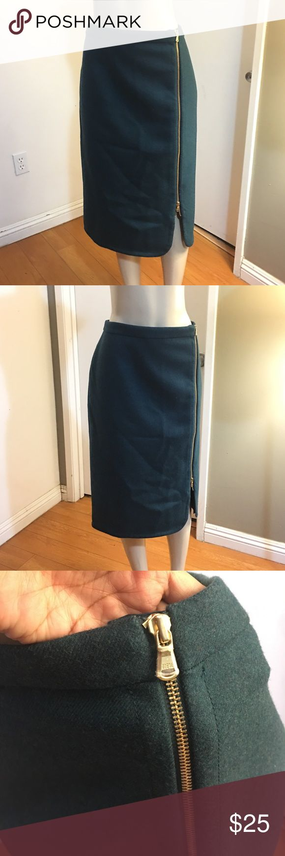 NWOT J.Crew Wool Exposed Zipper Skirt 100% Wool New without tags  Size 16T Gorgeous fitting  Dark emerald green color  Length 28 inches Waist 35 inches  Please measure yourself before buying anything from my closet J. Crew Skirts