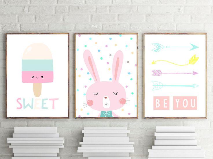 Nursery Or Bedroom Prints, Kids Wall Art Decor, Girls Bedrooom Prints,  Pastel Bunny