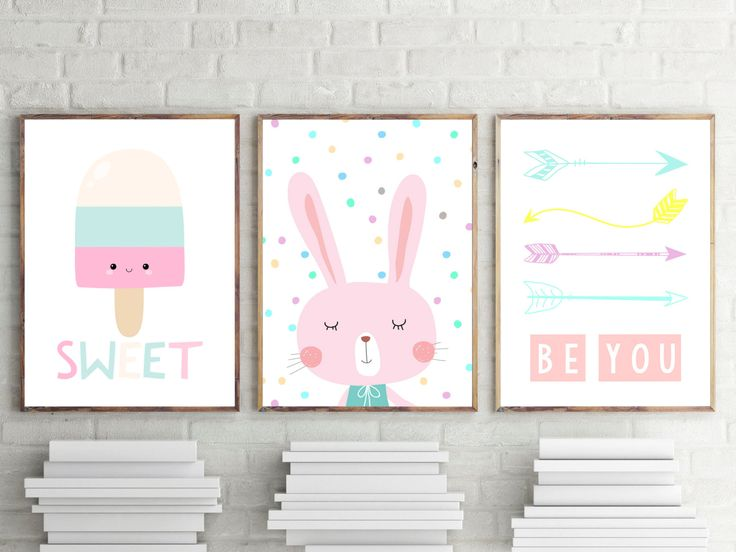 Nursery or Bedroom Prints, Kids Wall Art Decor, Girls Bedrooom Prints, Pastel Bunny, Ice Cream, Arrow Prints, Set of 3- A4 A3 by TheKidsPrintStore on Etsy