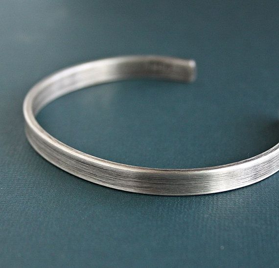 Men's Simple Silver Cuff Bracelet Flat Metal Rustic Band