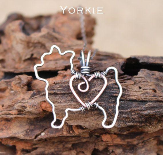 Yorkie Dog Necklace, Custom Dog Necklace, Sterling Silver Dog, Dog Outline, Wire Jewelry